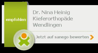 Dr. med. dent. Nina Heinig, von sanego empfohlen