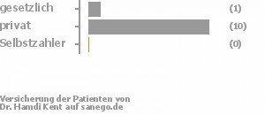 9% gesetzlich versichert,91% privat versichert,0% Selbstzahler Bild