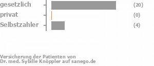 80% gesetzlich versichert,0% privat versichert,16% Selbstzahler Bild