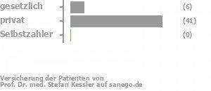 13% gesetzlich versichert,87% privat versichert,0% Selbstzahler Bild