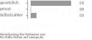 88% gesetzlich versichert,0% privat versichert,13% Selbstzahler Bild