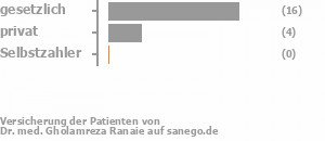 75% gesetzlich versichert,20% privat versichert,0% Selbstzahler Bild