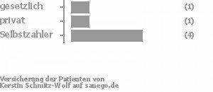 17% gesetzlich versichert,17% privat versichert,67% Selbstzahler Bild