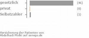 95% gesetzlich versichert,0% privat versichert,3% Selbstzahler Bild